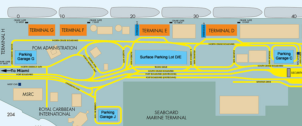 port of miami map   collins avenue hotels, clubs